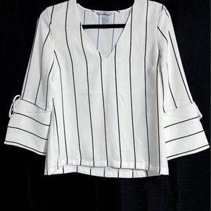 White Blouse with Black Pinstripe